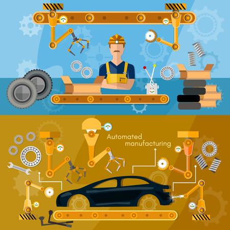 Car assembly line banner conveyor belt operator automotive industry vector illustration