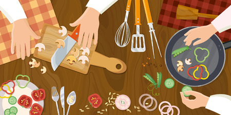 preparing food: Chef cooks preparing food top view cook hands on the kitchen table vector illustration