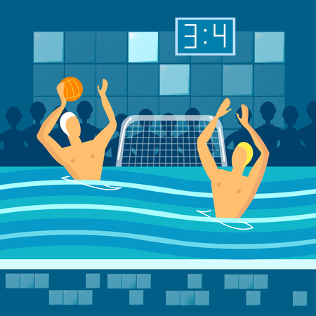 pool player: Water polo player in swimming pool sports games vector illustration