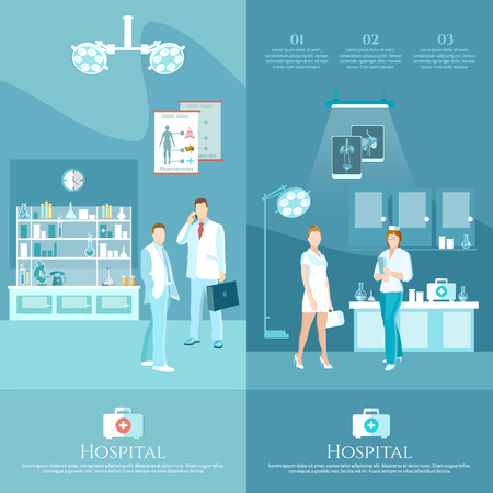 outpatient: Medicine banners health service surgery operation room doctors and hospital interiors  vector illustration