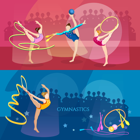 Gymnastics banner rhythmic gymnastics girls sports vector illustration