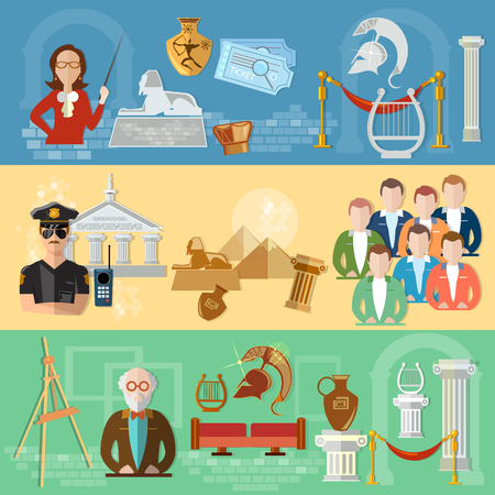 museum gallery: Museum banners tour group of tourists gallery history and culture of civilization guide museum vector illustration Illustration
