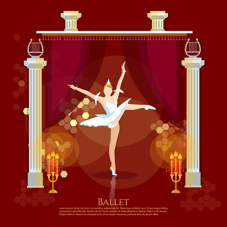animal tutu: Ballet ballerina dancing on a theater stage vector illustration Illustration