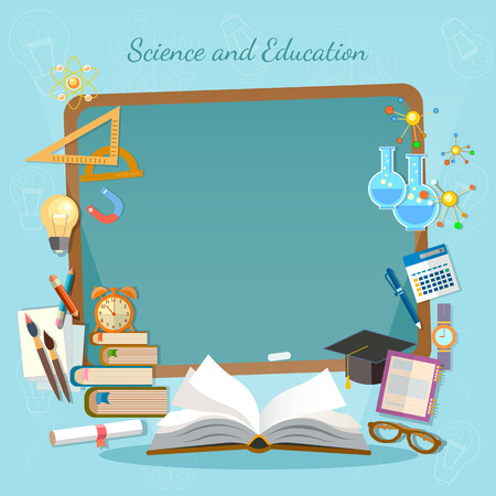 Education background infographics open book of knowledge school blackboard effective education vector illustration