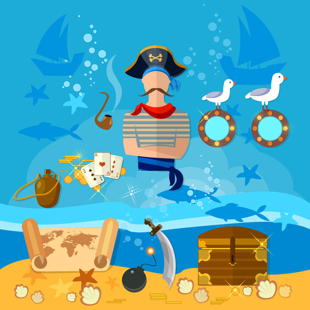 piracy: Pirate cartoon old map pirate treasure on the ocean floor vector illustration