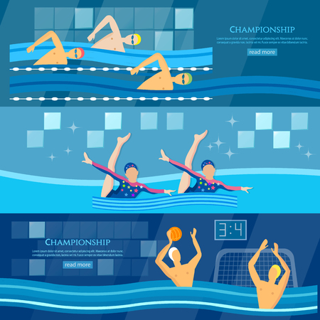 water polo: Sport swimming water polo synchronized swimming banner professional water sports vector illustration