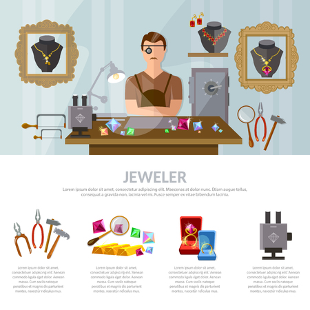 earrings: Jewelry infographics earrings rings gems jeweler at work vector illustration Illustration