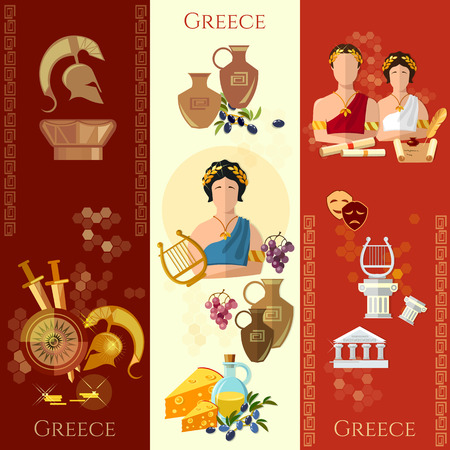 Ancient Greece and Rome banner tradition and culture vector set collection
