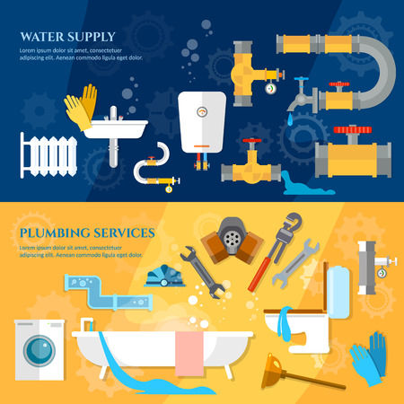 tube wrench: Plumbing repair service banner different tools and accessories repair leaks washing machines vector illustration