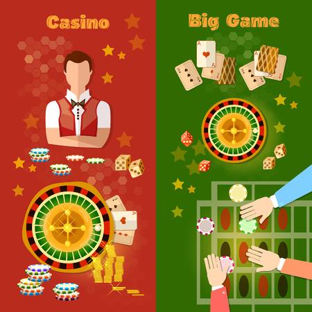 black jack: Casino and gambling banner games symbols roulette baccarat jackpot croupier vector illustration