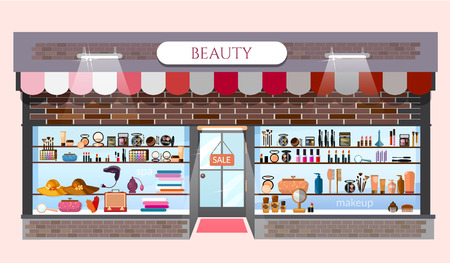 Beauty store fashion shop building showcases with fashionable clothes cosmetics vector cartoon illustration Illustration