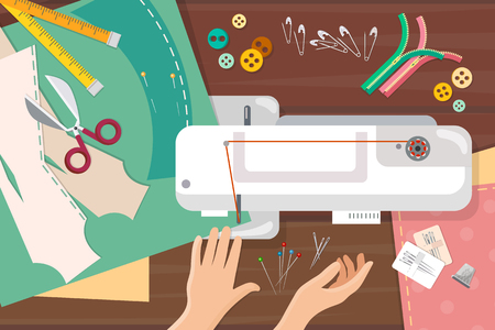 catoon: Seamstress work on sewing machine top view professional tailoring manufacture of wearing apparel vector catoon illustration Illustration