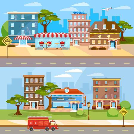 urban city: Cityscape banner town life urban city landscape street panoramic vector illustration
