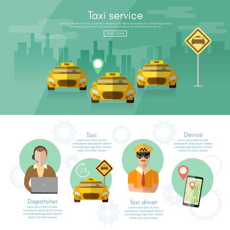 dispatcher: Taxi service dispatcher transport  driver car challenge mobile app for booking vector illustration Illustration