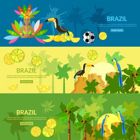 carnival girl: Brazil banners Rio de Janeiro girl in carnival costume brazilian culture and attractions vector illustration