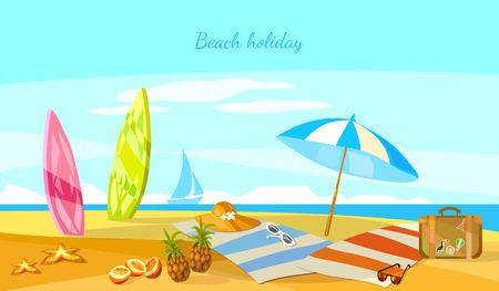 Summer holiday sunset beach scene tropical paradise vacation on coast surfboards on sand vector cartoon