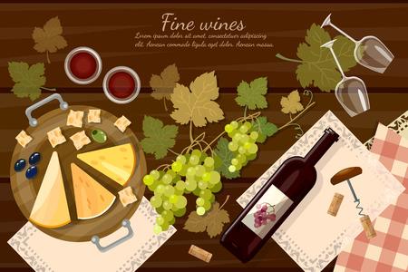Vin et fromage dégustation vue de dessus de bouteille de vin et les raisins sur la table en bois vecteur de bande dessinée illustration