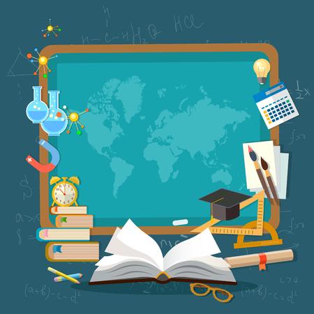 Fondo de la educación escolar infografía mapa del mundo pizarra libro abierto de conocimientos ilustración vectorial educación eficaz