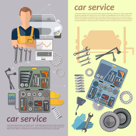 auto service: Auto service banner repair tire service oil change auto mechanic vector Illustration