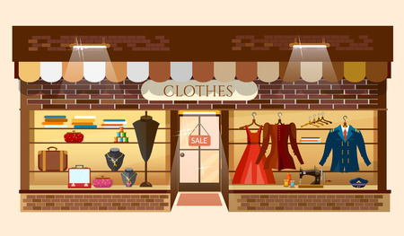 Clothes store building facade fashion clothing shop interior women shopping mall showcase model cartoon vector illustration Stock Illustratie
