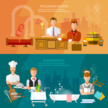 hotel staff: Hotel service banners hotel staff reception room cleaning restaurant vector illustration