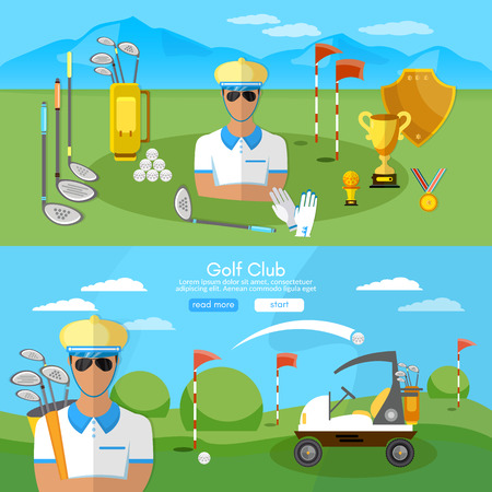 competitions: Golf club banner sports equipment for golf sport competitions golfing elements vector illustration