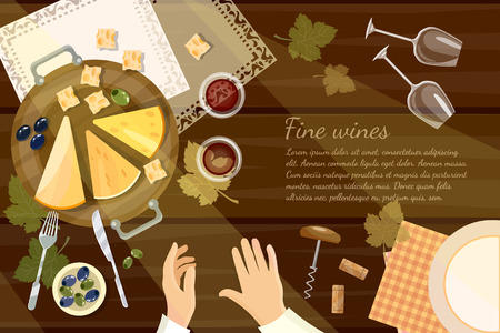 sommelier: Wine tasting sommelier top view wine bottle and grapes on wooden table cartoon vector illustration