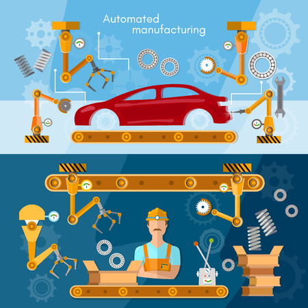 automotive industry: Car assembly line banner operator automotive industry conveyor belt vector illustration