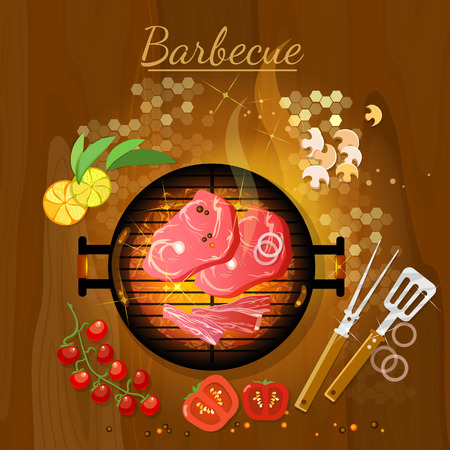 embers: Bbq grill party grilled meat live coals gridiron top view vector illustration