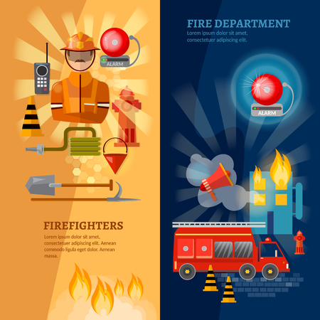 Firefighters banners equipment fireman fire safety vector illustration Illustration