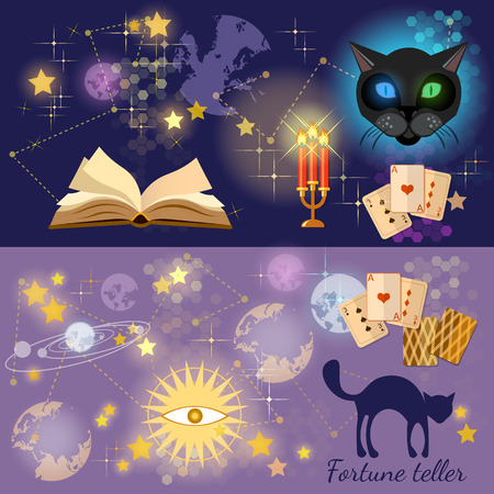 clairvoyant: Fortune telling astrology and alchemy banners magic open book vector illustration