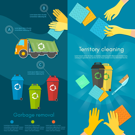 waste separation: Garbage sorting banner scavenger team sorting waste for recycling separation of waste on garbage bins vector illustration Illustration