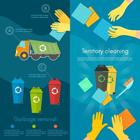 separacion de basura: La basura de clasificaci�n de la bandera del equipo depurador de clasificaci�n de residuos para el reciclaje de separaci�n de los residuos en contenedores de basura ilustraci�n vectorial