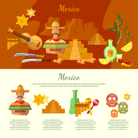 poncho: Mexico infographics mexican culture and food attraction poncho guitar vector illustration