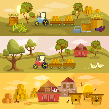old barn: Farm agriculture banner natural food farmer products rural landscape old barn and field cartoon vector illustration Illustration