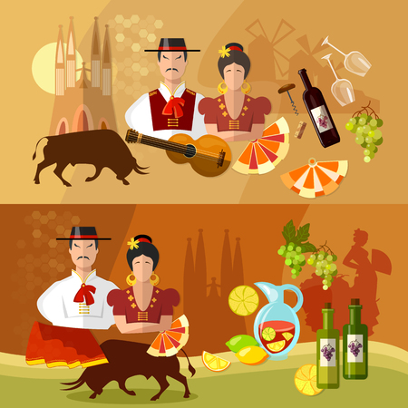 torero: Spain banners traditions and culture spanish attractions people vector illustration