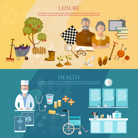social care: Nursing home banners pension hobbies social care for the elderly retirement home vector illustration