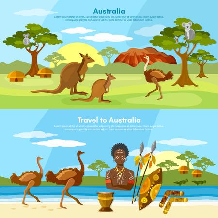 australian animals: Australia travel banner people and animals australian aborigines kangaroo ostrich koala vector illustration