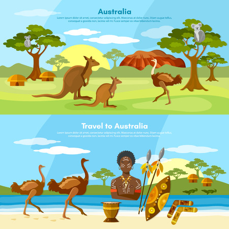 Australia travel banner people and animals australian aborigines kangaroo ostrich koala vector illustration