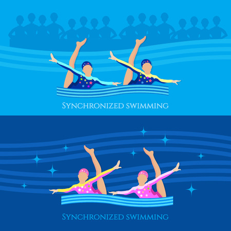 synchronized: Synchronized swimming banner girls team water sports vector illustration