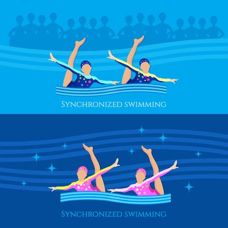 Synchroonzwemmen banner meisjes team watersporten vector illustratie