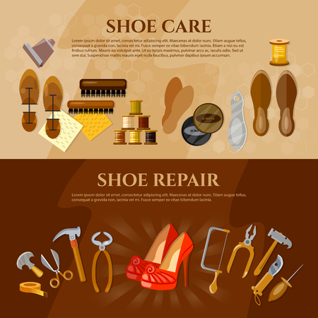 shoe repair: Cobbler banner shoe repair shoe care tools shoemaker workplace vector illustration