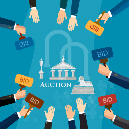 bidding: Auction and bidding selling antiques sale paintings art object culture vector illustration Illustration