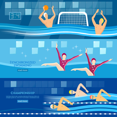 synchronized: Professional water sports banner  water polo synchronized swimming sport swimming vector illustration