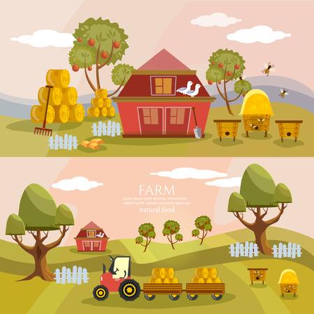 농장 농업 배너 농부 제품 농촌 풍경 이전 헛간 및 필드 만화 벡터 일러스트 일러스트
