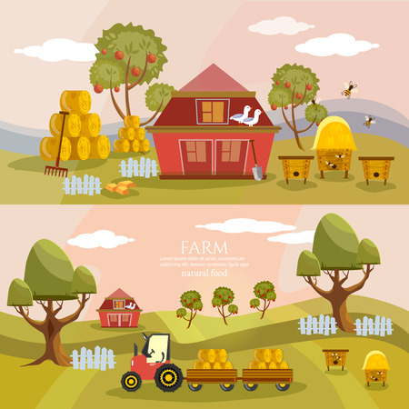 Farm agriculture banner farmer products rural landscape old barn and field cartoon vector illustration Illustration