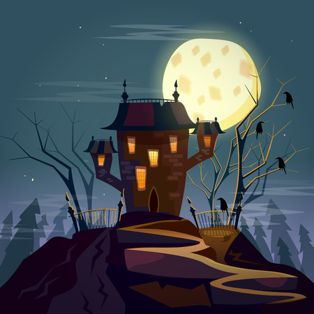 godforsaken: Ghost house cartoon vector Illustration