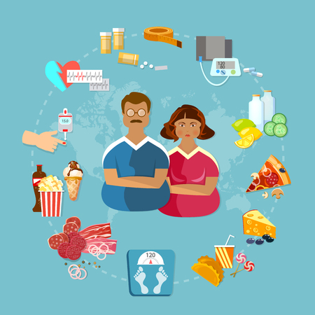 Fettleibigkeit Problem Fett Menschen schlechte Nahrung Ursachen und Auswirkungen von Fettleibigkeit Vektor-Illustration Standard-Bild - 61097518