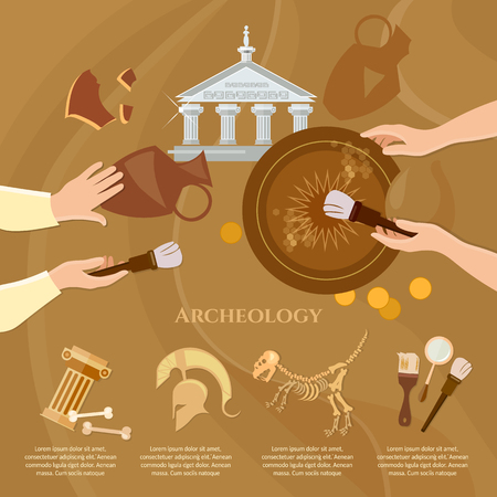 unearth: Archaeological excavation achaeologists unearth ancient artifacts ancient history vector illustration Illustration