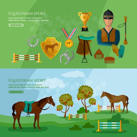 equestrian sport: Equestrian sport banner horse riding professional jockey vector illustration